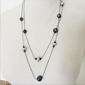 Blue and silver layering necklace